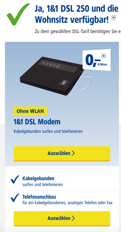 1und1 Kabelmodem option