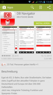 DB Navigator im Google Play Store