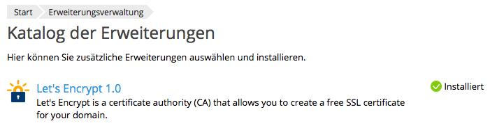 Let's Encrypt Erweiterung Installation